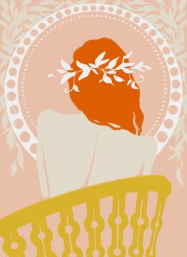 Red-haired girl with a wreath in her hair