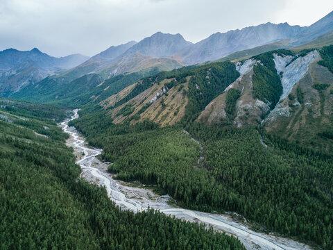 A mountain river valley