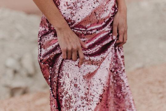 Pink sequins mermaid skirt