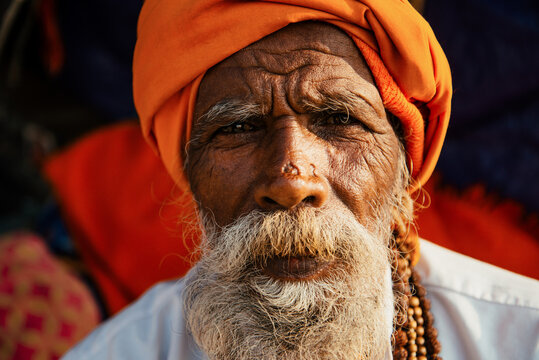 Portrait of a bearded indian old man