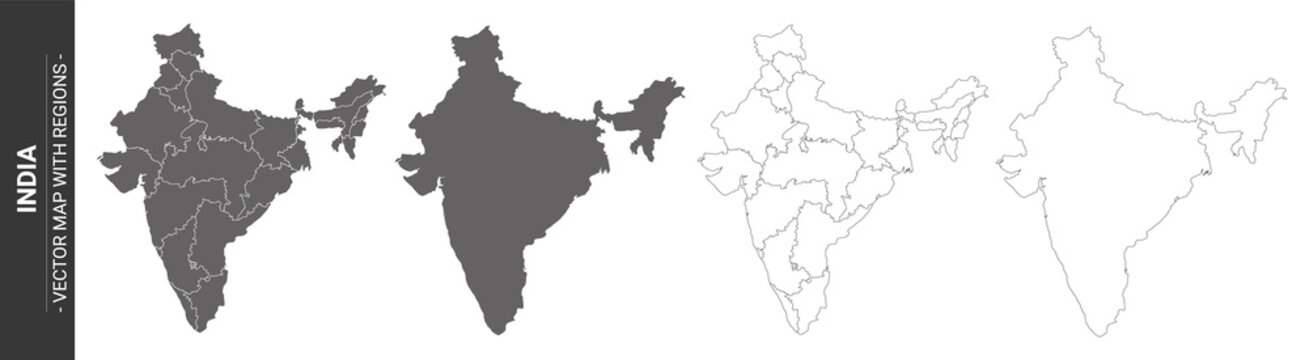 set of 4 political maps of India with regions isolated on white background