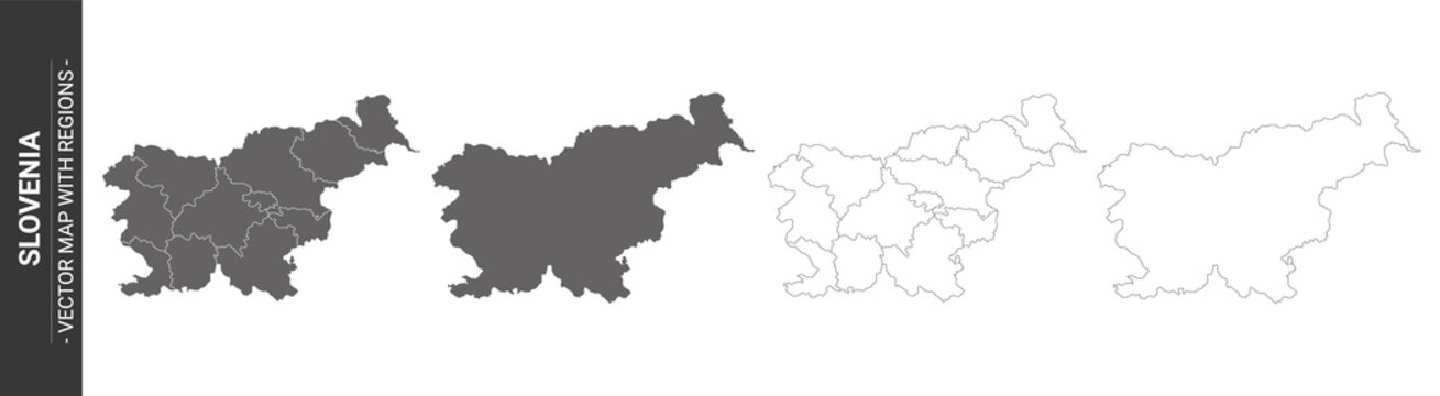set of 4 political maps of Slovenia with regions isolated on white background