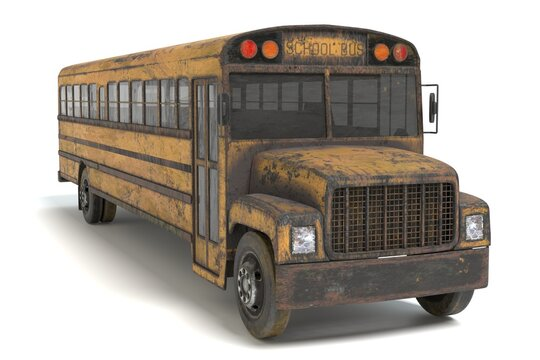 3D Illustration of a Abandoned School Bus