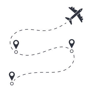 Vector flight path of an airplane from one point to another with transfers. Dotted line with aircraft silhouette. Stock illustration on white background