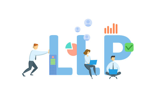 LLP, Limited Liability Partnership. Concept with keywords, people and icons. Flat vector illustration. Isolated on white background.