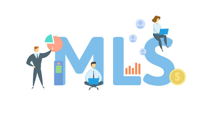 MLS, Multiple Listing Service. Concept with keywords, people and icons. Flat vector illustration. Isolated on white background.