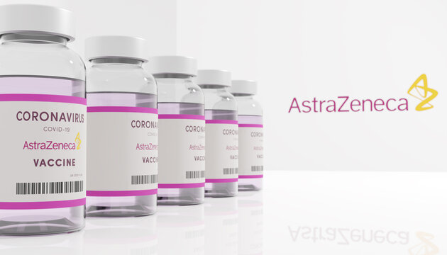 Guilherand-Granges, France - November 13, 2020. Covid-19 vaccine with AstraZeneca logo. British-Swedish multinational pharmaceutical and biopharmaceutical company.