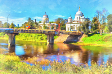 Voskresensky monastery colorful painting, 19th century, Torzhok, Tver region Russia.