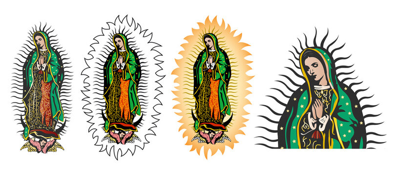 Virgin of Guadalupe, Mexican Virgen de Guadalupe color vector collection set.