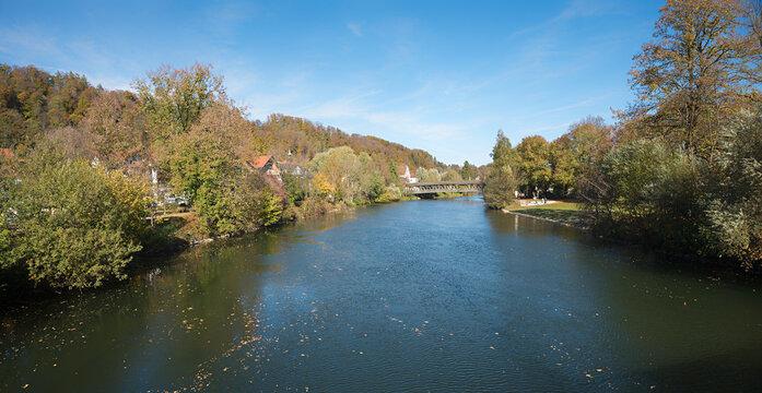 Loisach river Wolfratshausen, in autumnal season. bavarian landscape