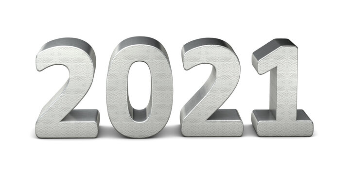 New year text silver 2021 3d rendering