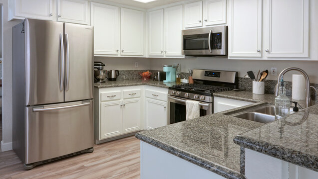 Contemporary kitchen with granite counters and stainless steel appliances