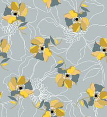 Flowers and seamless pattern.Silk scarf design, fashion textile.