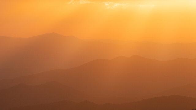 Beautiful shot of a mountainous landscape of Western North Carolina during sunset