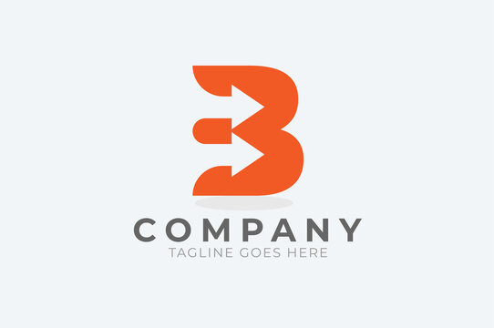 Initial B Logo, letter B with with arrow inside, Usable for Business and logistic Logos, Flat Vector Logo Design Template, vector illustration