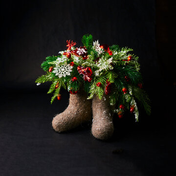 Christmas composition on dark background.