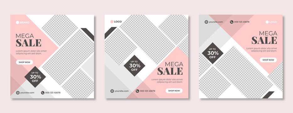 Set of fashion sale social media banner template. Business promotion & advertisement post or flyer for web. Marketing & corporate branding poster design with geometric shapes.