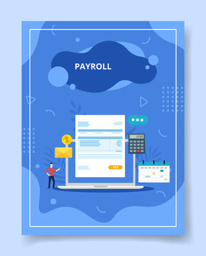 payroll in display laptop screen men standing nearby for template of banners, flyer, books cover, magazines with liquid shape style