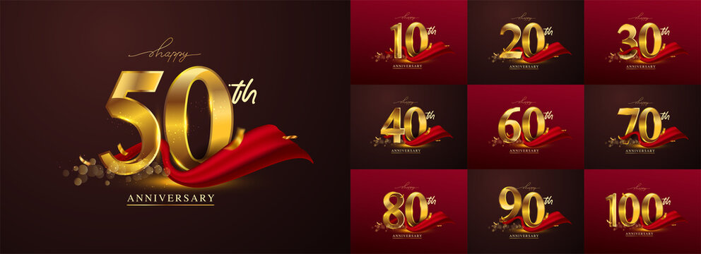 Set of anniversary logotype and red ribbon. Golden anniversary celebration emblem design for booklet, leaflet, magazine, brochure poster, web, invitation or greeting card. Vector illustration.