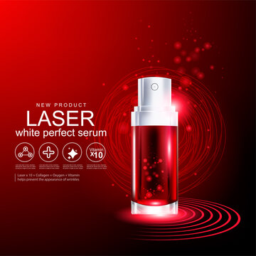 Collagen Serum Red Laser and Vitamin for Skin Care Products Concept.