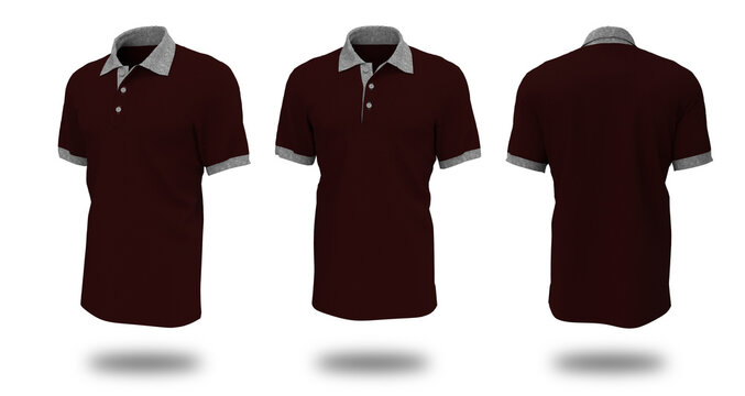 Blank collared shirt mockup template, front, side and back views, plain t-shirt mockup, tee design presentation for print, 3d rendering, 3d illustration