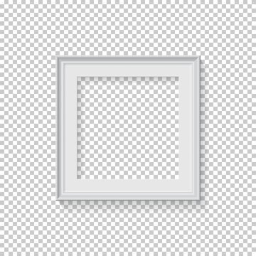 White square frame for picture on transparent background. Blank space for picture, painting, card or photo. 3d realistic modern template vector illustration. Simple office object