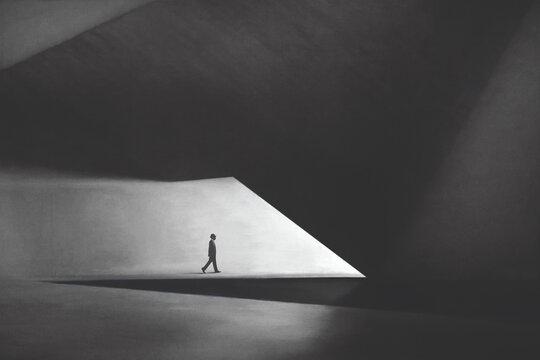 illustration of business man walking under modern minimal architecture