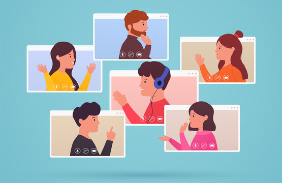 Video conferencing and web communication group of people. Men and women connect together, learning, online with teleconference. Concept working from home and anywhere.