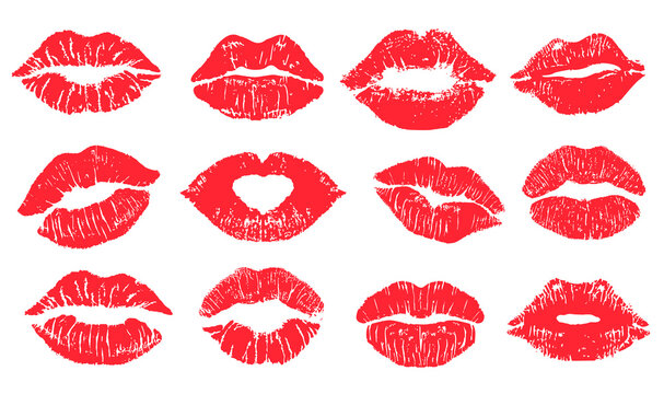 Female lips lipstick kiss print set for valentine day and love illustration. Collection of Lips marks with grunge effect. Vector illustration.