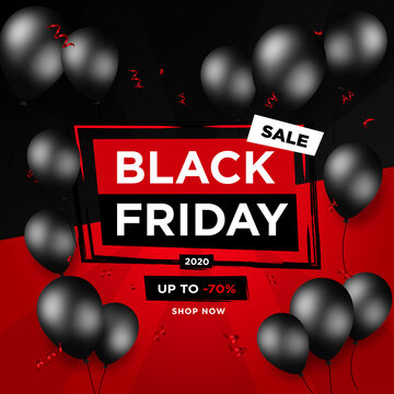 Black Friday Sale banner with black balloons - Vector black week background