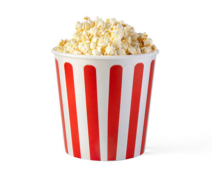 Popcorn in red and white striped cardboard bucket