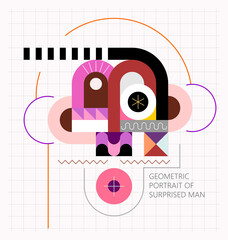 Geometric portrait of surprised man vector illustration. Vector SVG 1.1 and layered EPS 10 files included.