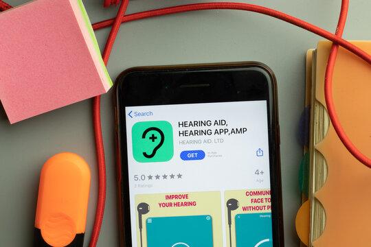 New York, United States - 7 November 2020: HEARING AID AMP app store logo on phone screen, Illustrative Editorial