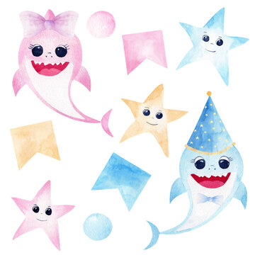 Baby shark watercolor clipart. Pink and blue smiling sharks, colorful starfishes and party decorations.