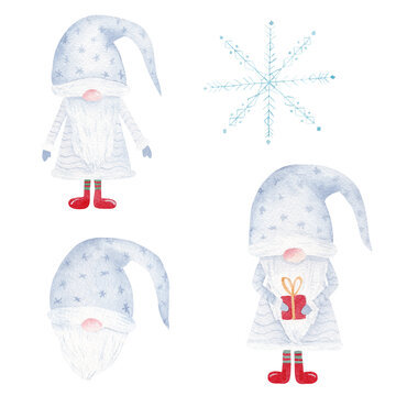 Christmas watercolor gnome and snowflake. Hand painted santa illustration set. Graphics for decorations, greeting cards.