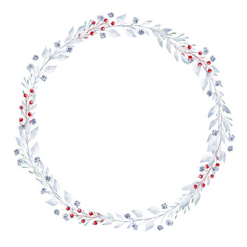 Watercolor greenery and berries wreath. Hand painted clipart. Perfect for Christmas invitation, greeting card, diy.