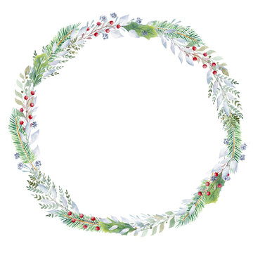 Hand painted watercolor wreath with greenery and red berries. Christmas clipart.
