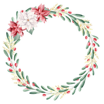 Watercolor Christmas floral wreath with red berries. Perfect for invitations, greeting cards, signs.