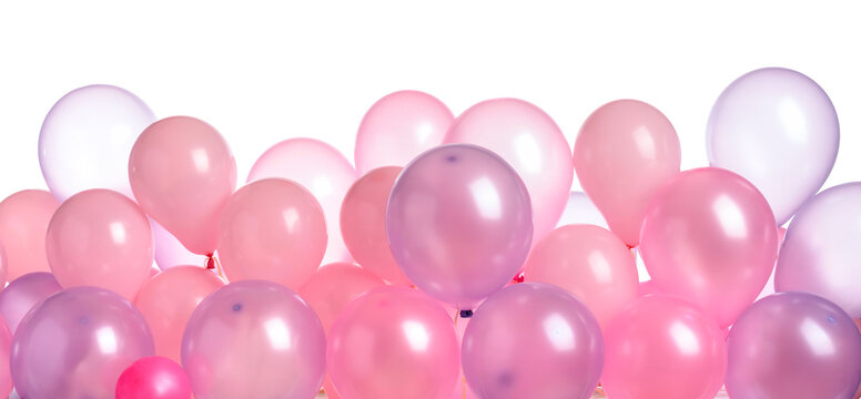 Pink and purple balloons isolated on  white.