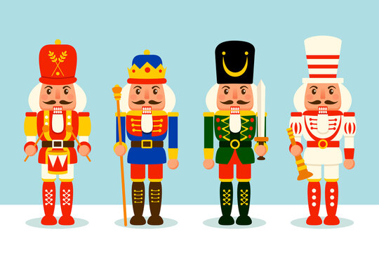Collection of Christmas Nutcracker toy soldier. A variety of Nutcracker toy soldier for Christmas design. Flat vector concept illustration.