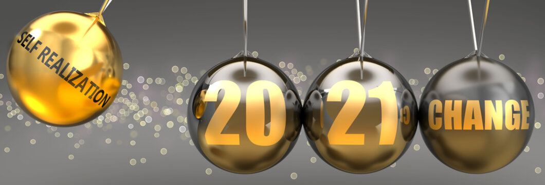 Self realization as a driving force of change in the new year 2021 - pictured as a swinging sphere with phrase Self realization giving momentum to 2021 that leads to a change, 3d illustration