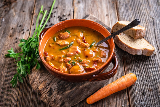 Stew made with meat, potatoes, carrots and herbs