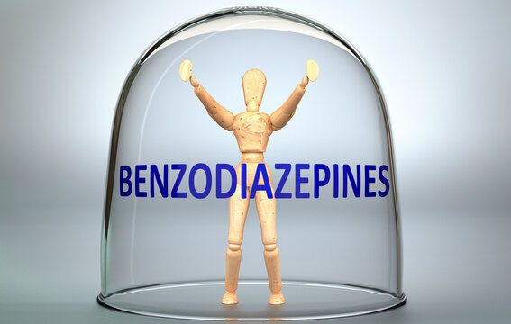 Benzodiazepines can separate a person from the world and lock in an isolation that limits - pictured as a human figure locked inside a glass with a phrase Benzodiazepines, 3d illustration