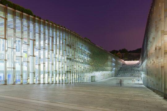 Night shot of underground library of Ewha Womans University - Seoul, South Korea