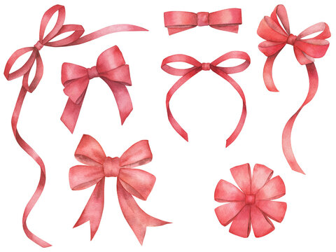 Watercolor set of isolated red bows on white background. Ribbons collection. Hand drawn sketch illustration