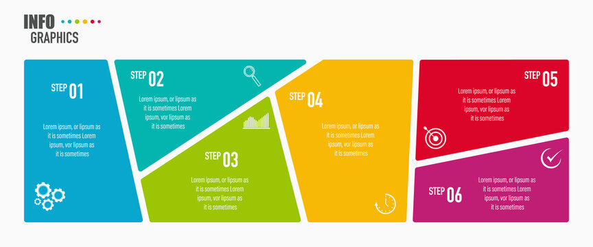 Infographics design vector and business icons with 6 options for presentation and web site