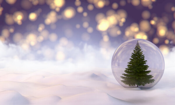 The Snow Globe with Christmas tree inside it. 3d illustration