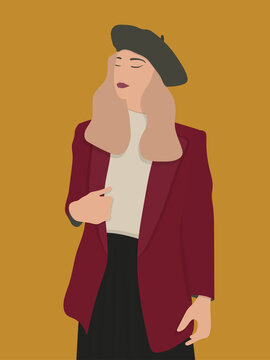 Portrait of a young beautiful French lady wearing a Jacket and beret