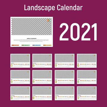 Professional and Unique Landscape Calendar Template 2021