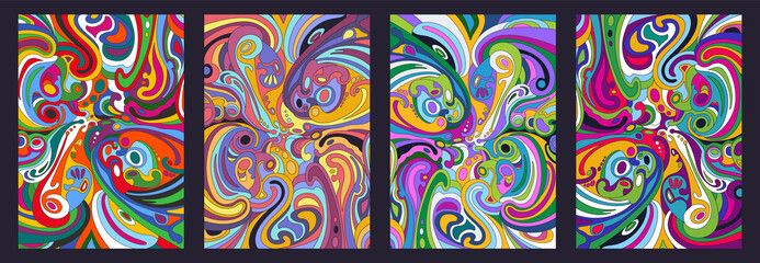 Fototapeta 1960s Hippie Art Style Psychedelic Background, Colorful Abstract Pattern Set  obraz